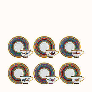 Cheval d'Orient set of 6 tea cups and saucers