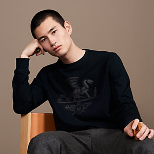 """Ex-Libris Dragon"" crewneck sweater with leather patch detail"
