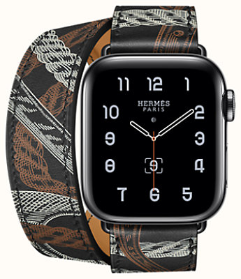 Space Black Series 5 case & Band Apple Watch Hermes Double Tour 40 mm