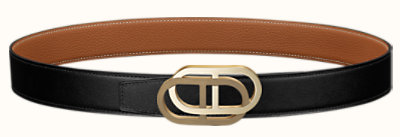 Maillon au Carre belt buckle & Reversible leather strap 32 mm